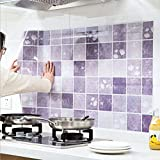 wandaufkleber wandtattoos Ronamick 1 STÜCK Blume Küche Öldicht Abnehmbare Wandaufkleber Kunst Dekor Abziehbild Wandtattoo Wandaufkleber Sticker Wanddeko (Lila)