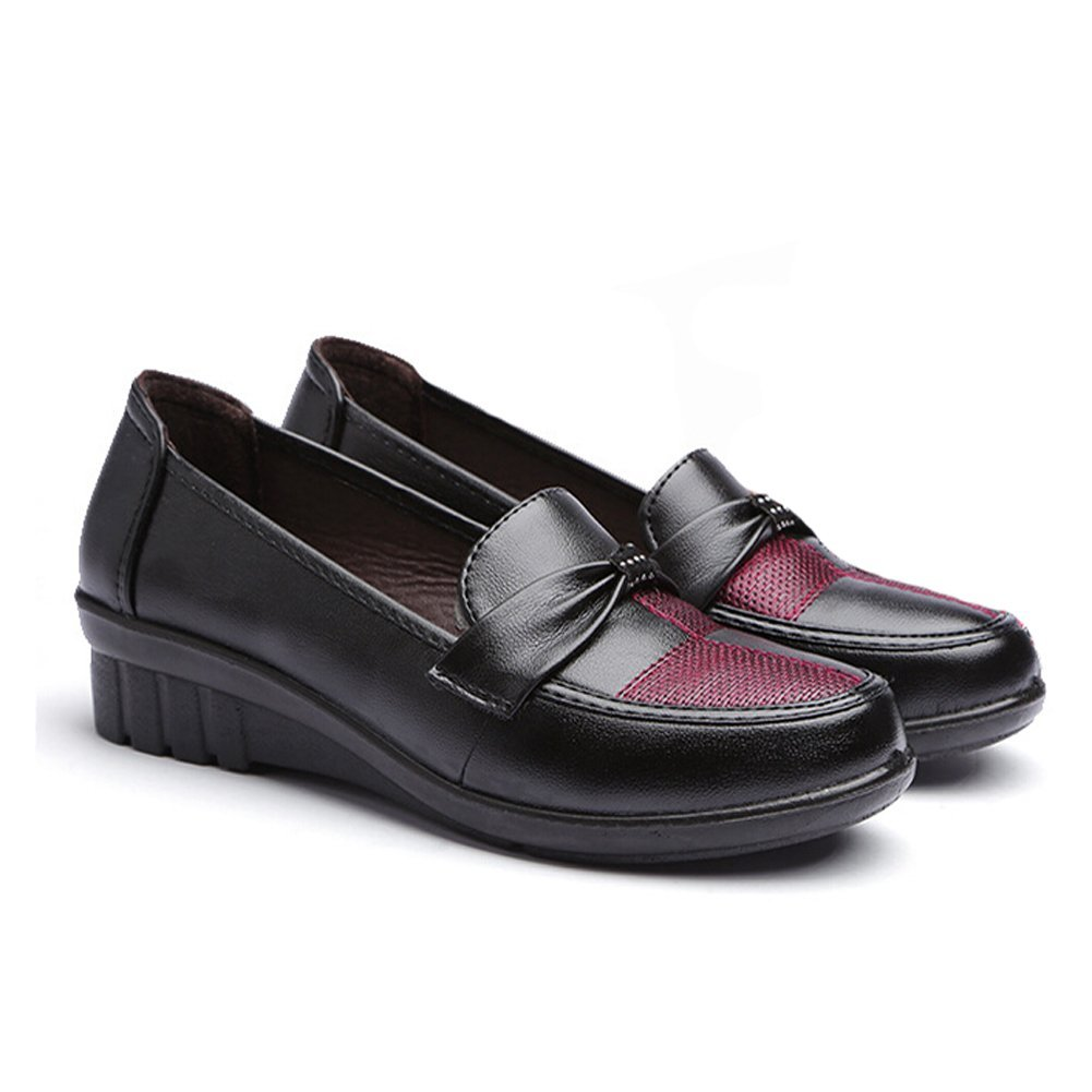 Hattie Women Mid Low Wedge Heel Bowknot loafers Casual Work Shoes:  Amazon.co.uk: Shoes & Bags