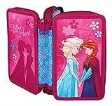 Scooli FRWD0430 Doppeldecker Schüleretui Disney Frozen mit Stabilo, Markenfüllung, 29 teilig, türkis