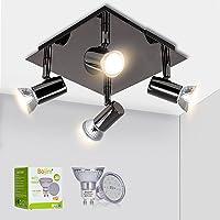Bojim Luminaire Plafonnier LED 4 Spots Orientables Carré Moderne en Chrome Noir, 6W GU10 2800K Blanc Chaud AC220-240V…