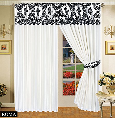 Stunning Luxurious Black Flock With Plain Design Ready Made Pencil Pleat Curtains (White Black, 90″W x 90″L)