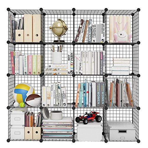 LANGRIA Bücherregal 16 Kubus Offen Draht Stufenregal Regalsystem Schuhregal Wohnzimmer Schrank für Bücher, Kleidung, Spielzeug und Schuhe