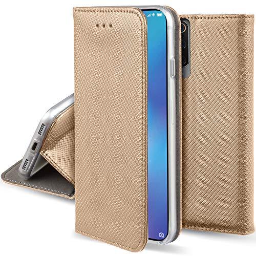 Moozy Funda para Xiaomi Mi 9, Dorada - Flip Cover Smart magnética con Stand Plegable y Soporte de Silicona