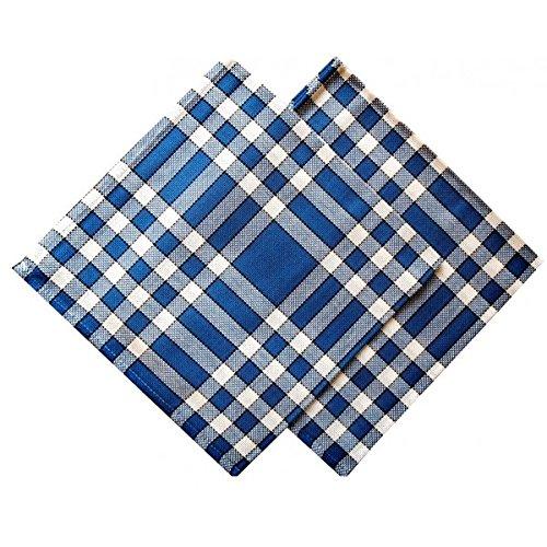 Linandelle Lot de 2 Serviettes de Table Carreaux Normands Bleues 50x50cm