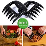 LURICO Bear Meat Claws Pulled Pork Shredder BBQ Meat Handler Forks Shredding Carving Forks for Pork, Chicken, Beef, Turkey- Set of 2 ( Black)