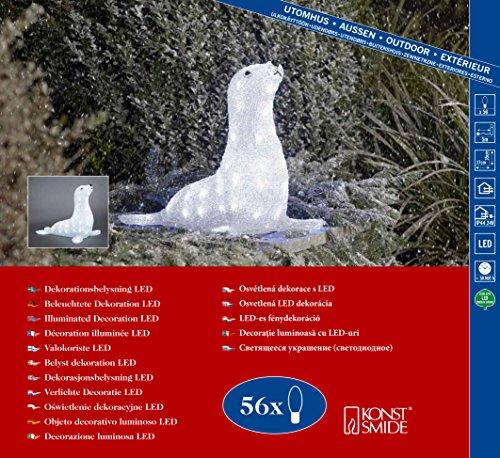 Konstsmide 6151-203 LED AcrylfigurSeehund / für Außen (IP44) / 24V Außentrafo / 56 kalt weiße Dioden/transparentes Kabel