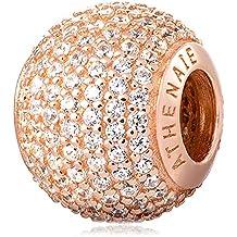 ATHENAIE 925 Argento placcato in oro rosa con Pave CZ amore romantico fascino misura Tutti collane bracciali