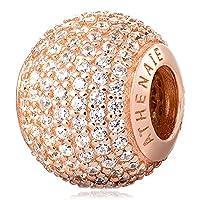 ATHENAIE 925 Silber überzogene Rose Gold mit pflastern freie CZ Romantische Liebe Charme passte alle europäischen Armband-Halskette