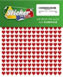 504 Klebeherzen, 10 mm, rot, aus PVC Folie, wetterfest, Herz Sticker Aufkleber