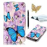 TOUCASA iPhone 6S Handyhülle,iPhone 6 Hülle, Geprägtes Buntes Tier und Blume Premium Flip Wallet Schutzhülle Stoßfest Bumper Magnetic Case Hülle für iPhone 6/iPhone 6S-Blauer Schmetterling