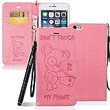 iPhone 6s Plus Hülle Pink,Slynmax Bär Flip Tasche Schutzhülle für iPhone 6 Plus 5,5