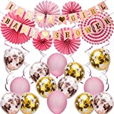 SAVITA Rosa Babyshower Deko für Mädchen Kit - IT'S A Girl Baby Shower Girlande Bunting Banner Papier Fans Luftballons Rosa Hängenden Wirbel Dekor für Baby Shower Party Supplies