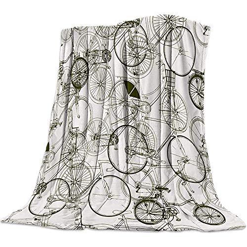 KL Decor Blankets,Retro Fahrrad Druck Decke Teppich Für Erwachsene Eltern Rest 102x127cm