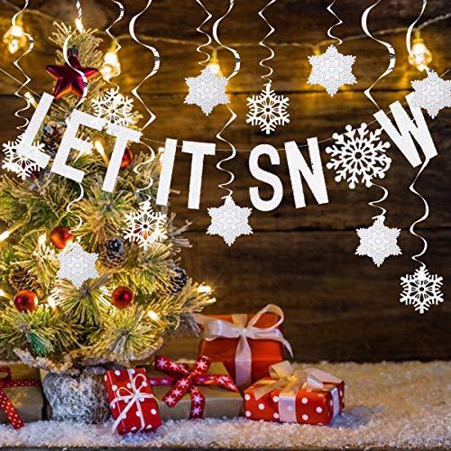 ARTISTORE 31PCS Snowflakes Silver & White Deckenwirbel baumelnde Weihnachtsdekorationen, Schneeflocken wirbelt für Weihnachten Winter Wonderland Urlaub Party (Party Winter Wonderland Decor)
