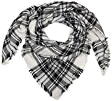 styleBREAKER Écharpe carrée XXL, plaid avec motif tartan écossais à carreaux et franges, unisexe 01018136, couleur:Blanc-noir