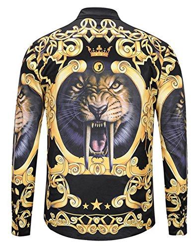 Pizoff Herren Luxus Langarm Golden Hemden mit Baroque-Motiven Y1792-38