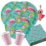 36-teiliges Party-Set Flamingo Paradise - Teller Becher Servietten für 8 Personen + Ty Gilda