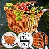 Cesta de Mimbre para Bicicletas | 39x27x22 cm, Cesta Delantera para Manillar, Natural de Color | Retro Vintage Cestas, Cesta de Almacenaje, Cesta de Carga