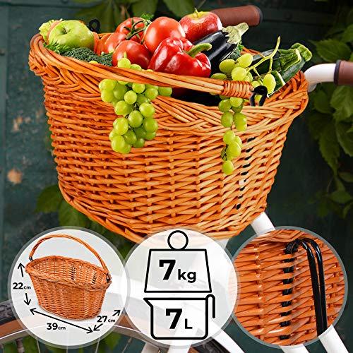 Fahrradkorb Vorne Lenkerkorb | 39x27x22 cm, Natur Weidenkorb inkl. Handbügel, Tragfähigkeit 5-7 kg | Korb, Hängekorb, Einkaufskorb