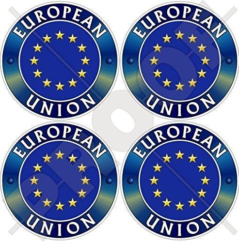 Europa EUROPÄISCHE UNION Flagge Abzeichen EU 50mm Auto & Motorrad Aufkleber, x4 Vinyl Sticker