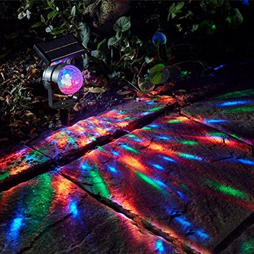 JAYLONG Solar String Lichter Mit Bunten Projektion Outdoor-Landschaft Lampe Für Weg, Pfad, Garten, Rasen, Hof, Korridor, Terrasse, Veranda Mit 7 Farben Wireless, Wasserdicht - Flut-licht Bewegungs-sensor Führte