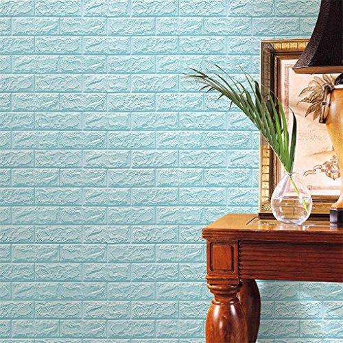 PE Schaumstoff 3D Wand Dekor Prägung Steine Wallpaper DIY Aufkleber (60 X 60 X 0.8cm, Hellblau) Ziegel-wand-aufkleber