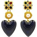 Orecchini pendenti a forma di cuore, da donna, con perle sintetiche, smaltate, gioielli
