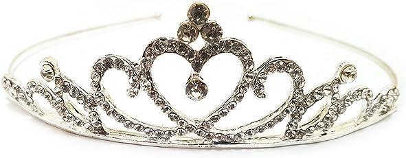 AmberRoze White Bridal Heart Shape Rhinestone Crown for Women