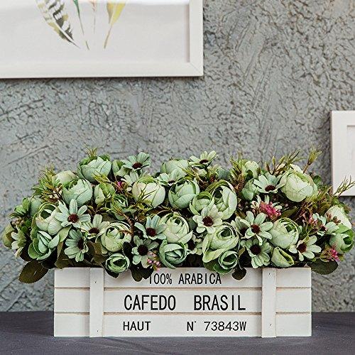 Flinfeays Kunstblumen Holzzaun Kreative DIY Hochzeit Party Küche Hotel Dekoration Sehr Realistisch Blumenarrangement Holz Topf Grün-66