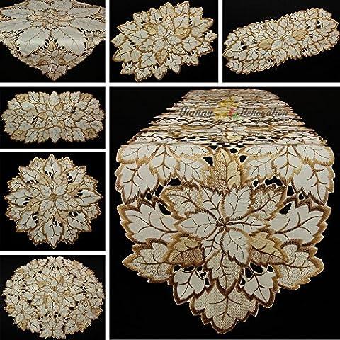 Fogli Runner tovaglia media colore bianco crema marrone Autunno ricamo, Poliestere, 30 cm x 45 cm - Fogli Tetto