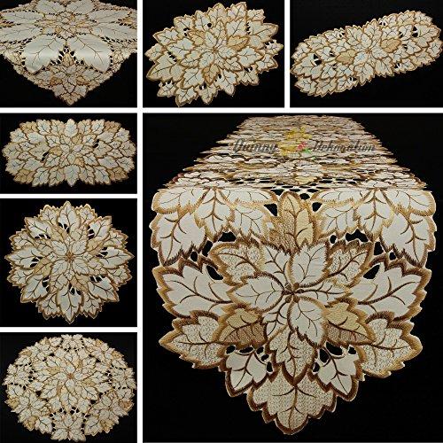 Quinnyshop Feuilles d'automne Chemin de table 30 x 45 cm Ovale Polyester, Crème