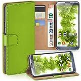 moex Samsung Galaxy Note 2 | Hülle Grün mit Karten-Fach 360° Book Klapp-Hülle Handytasche Kunst-Leder Handyhülle für Samsung Galaxy Note 2 Case Flip Cover Schutzhülle Tasche