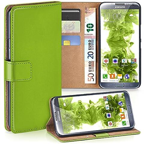 Samsung Galaxy Note 2 Hülle Grün mit Karten-Fach [OneFlow 360° Book Klapp-Hülle] Handytasche Kunst-Leder Handyhülle für Samsung Galaxy Note 2 Case Flip Cover Schutzhülle Tasche