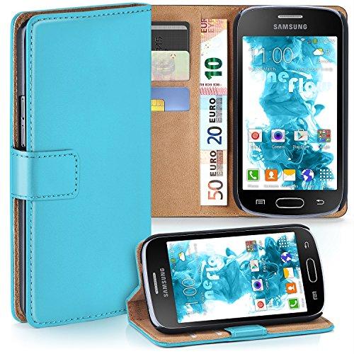 Cover OneFlow per Samsung Galaxy Trend / Trend Plus Custodia con scomparti documenti | Flip Case Astuccio Cover per cellulare apribile | Custodia cellulare Cover rotettiva Accessori Cellulare protezione Paraurti AQUA-CYAN