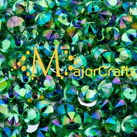 MajorCrafts® 100pcs 10mm ss46 Light Green AB Flat Back Pointed Acrylic Rivoli Rhinestones C3