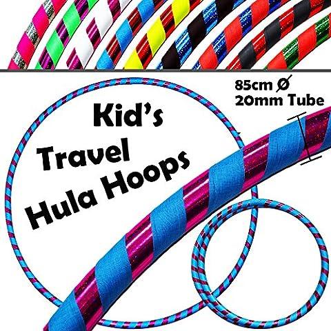 HULA HOOPS pour les ENFANTS - ULTRA-GRIP Pro KIDS TRAVEL Hula Hoops - De Pondérées Enfants Voyage Pliable Hula Hoop. Super Pour L'exercice, Danse, Fitness & Fun! (Diam:85cm, Lesté:400g) (Flo.Bleu / Violet, 85cm)