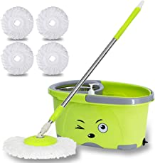TAVISH Mop Bucket Magic Spin Mop Bucket Double Drive Hand Pressure Stainless Steel Mop with 5 Microfiber Mop Head Household Floor Cleaning & 4 Color May Vary