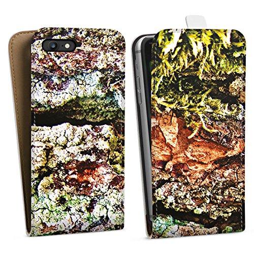 Apple iPhone X Silikon Hülle Case Schutzhülle Rinde Holz moos Downflip Tasche weiß