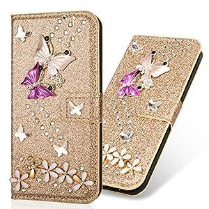 Kartenfach Magnetverschluss Leder für Huawei Mate 20,Diamant Butterfly Funkeln Bling Glitzer BookStyle Slim Ledertasche Schutzhülle Flip Folio Wallet Stand Card Slots Pocket Etui Hülle