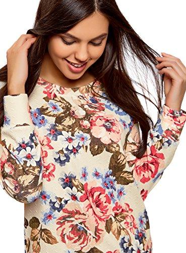 oodji Ultra Damen Bedrucktes Sweatshirt mit Rundem Ausschnitt Elfenbein (3070F)