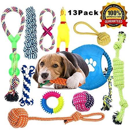 Anwin Hundespielzeug 13pcs Kauspielzeug Interaktives Spielzeug Set Intelligenz Hundeseile Spielset Seil mit geflochtem…