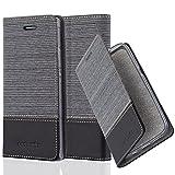 Cadorabo Hülle für Huawei P7 - Hülle in GRAU SCHWARZ – Handyhülle mit Standfunktion und Kartenfach im Stoff Design - Case Cover Schutzhülle Etui Tasche Book