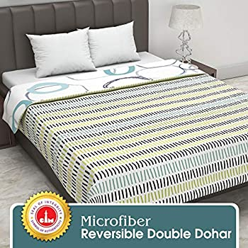 Divine Casa Twilight Geometric 110 GSM Microfibre All Weather Double Dohar - Yellow