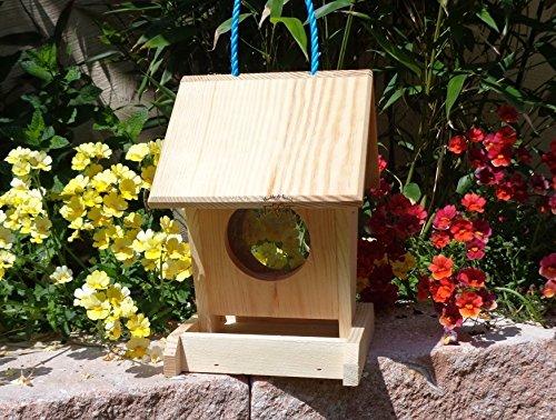 Futterhaus BTV-VOFU1K-natur001 PREMIUM Vogelhaus Futterstation XXL viele Farben farbige Nistkästen Holz Insekten, als Ergänzung zum Meisen Nistkasten Meisenkasten oder zum Insektenhotel, PREMIUM Vogelhaus Futterstation Vogelfutterhaus Futterstation für Vögel, Vogelhäuschen / Vogelvilla zum Hängen und Aufstellen von BTV