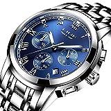 Uhren Herren Luxus Marke Chronograph Herren Sport Uhren wasserdicht Edelstahl Quarz Herren-Armbanduhr Blau