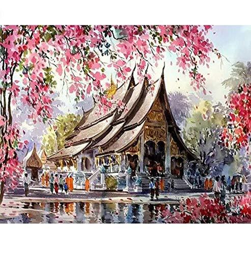 Waofe Rahmen Tempel Diy Malen Nach Zahlen Landschaft Kalligraphie Malerei Acrylfarbe Nach Zahlen Für Wohnkultur 40X50 Cm Kunst