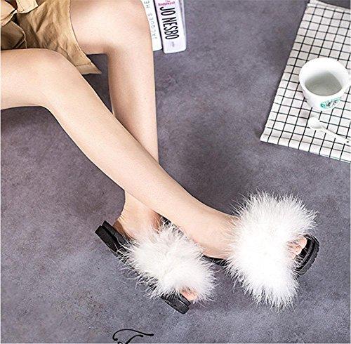 Firebird Wolle Pantoffel weiblicher Frühling und Sommer arbeitet Oberbekleidung echtes Fell Pelzfell Wort Drag White
