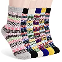 Bearbro Winter Socks Women,6 Pairs Womens Thermal Socks Knitted Socks Vintage Style Wool Warm Cotton Socks Soft Warm Comfortable for Winter