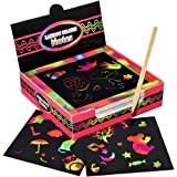 100 pcs Rainbow Scratch Paper, Scratch Off Mini Notes + 2 Wooden Stylus + 2 Drawing Template, Arts and Crafts, Rainbow & Holo