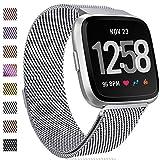 HUMENN Für Fitbit Versa Armband, Luxus Milanese Edelstahl Handgelenk Ersatzband Armbänder mit Starkem Magnetverschluss für Fitbit Versa Special Edition Klein Silber
